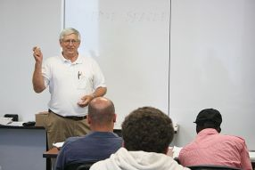 NETC Pathways to Success: Dave Seagle reviews material the class has learned about introductory craft skills before giving them a test. The course was offered at Northeastern Technical College's Dillon campus.