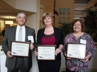 College success Three members of NETC's faculty and staff, from left, James Oxendine, Donna Chavis and Cynthia Sellers, were presented awards for their dedication to education.
