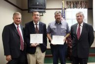 Employee Awards Pictured, from left to right, are Dr. Ron Bartley, Scott Schantz, Randy Skipper and Herbert Watts. Mr. Schantz and Mr. Skipper received awards for 10 years of service. Receiving awards, but not pictured, are Ronald Yancey, Kenneth Alford, Dr. James Harril