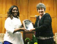 HONORS NIGHT Northeastern Technical College SGA President Joyce Love presents Dean of Continuing Education Sherrie Chapman with the Outstanding Contributor to Technical Education Award.